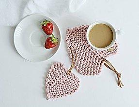 Úžitkový textil - Srdiečkové lístky - ružové - 10785871_