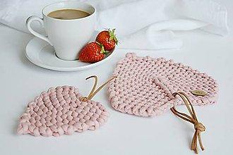 Úžitkový textil - Srdiečkové lístky - ružové (veľký: 16,5 x 15 cm) - 10785894_