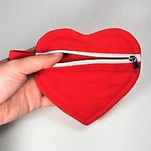 Taštičky - Srdiečko púzdro na zips jednofarebné (Červená) - 10785712_