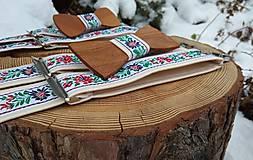 Doplnky - Set otec a syn - drevené motýliky, traky a manžetové gombíky - 10785029_