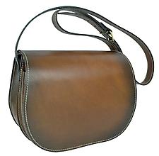Kabelky - Rustikálna kožená kabelka, ručne tampónovaná, skrytý magnet - 10784155_
