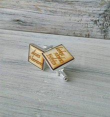 Šperky - Manžetové gombíky s textom živicové (hranaté - dnes si beriem...) - 10785015_