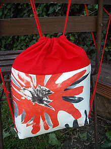 Batohy - šnúrkový ruksak Červený flak - 10784248_