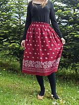 Sukne - Sukňa dlhá bordová-bordúra - 10785038_