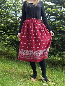 Sukne - Sukňa dlhá bordová-bordúra (dĺžka 70cm - Modrá) - 10785038_