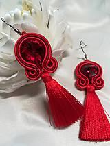 Náušnice - Sujtaškové červené náušnice - 10786125_