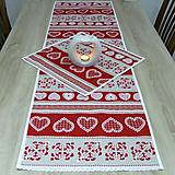 Úžitkový textil - MILENA (2)-krása tradície červená v pásoch-stredový obrus 140x40 - 10785368_