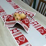 Úžitkový textil - MILENA-krása tradície červená v pásoch-stredový obrus 140x40 - 10785610_