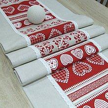 Úžitkový textil - MILENA-krása tradície červená v pásoch-stredový obrus 135x40 - 10784236_