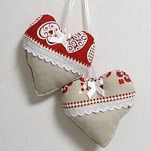 Úžitkový textil - MILENA-krása tradície červená v pásoch-dekoračné srdiečko 13x13 - 10784283_
