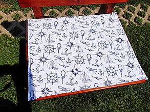 Úžitkový textil - Sedáky, podsedáky (Tmavo-modrá bodkovaná 55x45 cm) - 10785536_