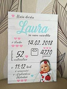 Detské doplnky - Detská tabuľka s údajmi o narodení dieťatka (Font - kaligrafický 38x27) - 10786107_