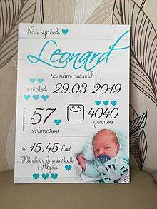 Detské doplnky - Detská tabuľka s údajmi o narodení dieťatka (Font - písaný 38x27) - 10786114_