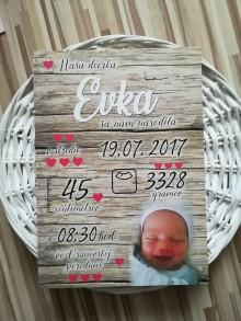 Detské doplnky - Detská tabuľka, tabuľka pre dieťa s údajmi o narodení dieťatka (Drevené pozadie 38x27) - 10786150_
