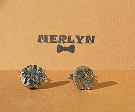 Šperky - manžetové gombíky minerál pyrit - 10785204_