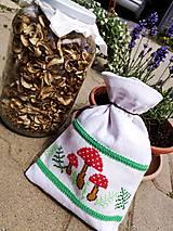 Úžitkový textil - Vrecúško - Hríby - 10786148_