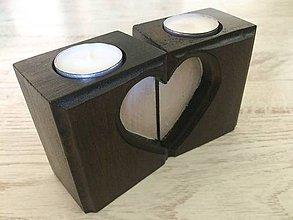 Svietidlá a sviečky - Drevený svietnik srdce - 10785940_