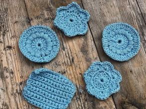 Úžitkový textil - Háčkované odličovacie tampóny 100% bavlna (Tyrkysová) - 10785860_