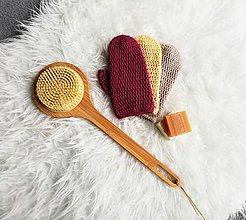 Úžitkový textil - Háčkovaná rukavica do sprchy z bio bavlny - 10786645_