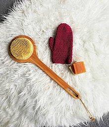 Úžitkový textil - Háčkovaná rukavica do sprchy z bio bavlny (Bordová) - 10786646_