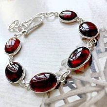 Náramky - Garnet Hessonite Silver Plated Bracelet Ag925 / Postriebrený náramok s granátom hessonitom - 10786868_