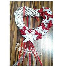 Dekorácie - Závesné srdce na dvere červené - 10788900_