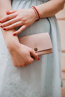 Peňaženky - Korková peňaženka M púdrovo ružová - 10786870_
