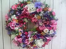 Dekorácie - Kvetinový veniec na dvere XL... pestré farby leta ... - 10787734_