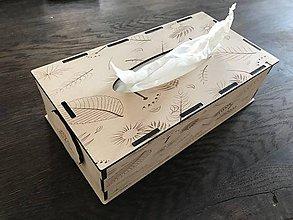 Krabičky - Zásobník na vreckovky (Vzor kvety a listy) - 10787301_