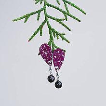 Náušnice - mini s kamienkom ~ napichovisiačky (bordové s granátom) - 10788337_