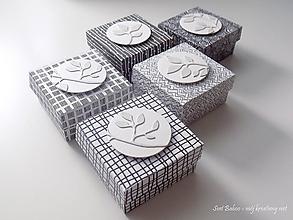 Krabičky - Set čierno-bielych mini boxov na USB (alebo inú drobnosť) - 10787032_
