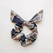 Ozdoby do vlasov - Recy-scrunchie modro-béžová - 10786476_