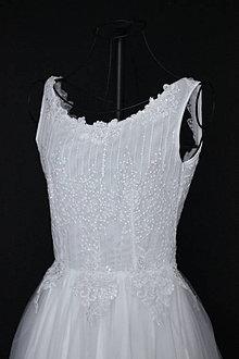 Šaty - Svadobné šaty s holým chrbátom a tylovou sukňou - 10788743_
