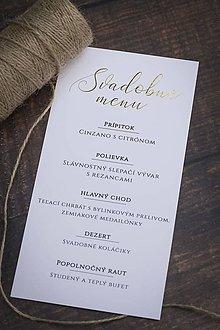 """Papiernictvo - Svadobné menu """"Jemná zlatá"""" - 10786739_"""