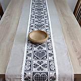 Úžitkový textil - MAREK-krása tradície sivá-stredový obrus - 10788392_