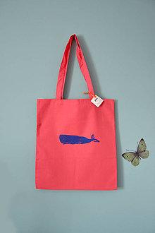 Iné tašky - Plátená taška, veľryby (Vorvaň modrý) - 10786538_
