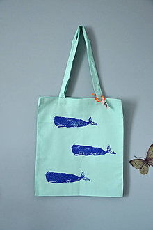 Iné tašky - Plátená taška, veľryby (Tri vorvane modré) - 10786553_