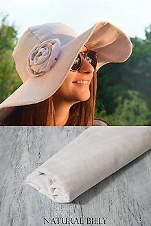 Čiapky - Klobúk elegancia 100%ľan (naural biela) - 10786765_