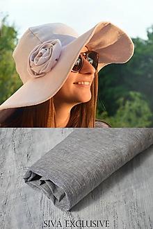 Čiapky - Klobúk elegancia 100%ľan (sivá exclusive) - 10786778_