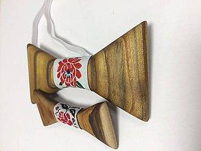 Doplnky - Set drevených motýlikov folk - 10788185_