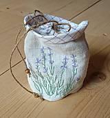 Drobnosti - vrecúško z ručne tkaného ľanového plátna - 10787611_