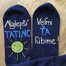 Obuv - Maľované ponožky pre najlepšieho ocka/mamku (Na tmavomodrých) - 10786907_