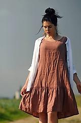 Šaty lněné s volánem - světlá terakota