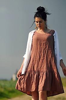 Šaty - Šaty lněné s volánem - světlá terakota - 10788198_