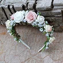 Ozdoby do vlasov - Čelenka z ružičiek romantická, bielo-ružová - 10790754_