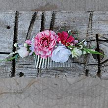 Ozdoby do vlasov - Hrebienok ružovo-bielo- cyklámenový, dlhší - 10791591_