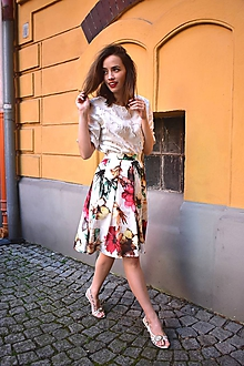 Sukne - Květovaná AURORA, pas 68 cm - 10791920_