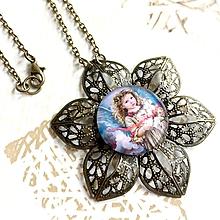 Náhrdelníky - Flower Bronze Filigree Necklace / Starobronzový vintage náhrdelník s ornamentmi v tvare kvetu /2111 - 10790498_