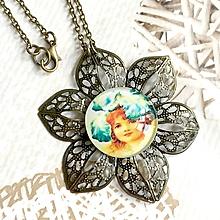Náhrdelníky - Flower Bronze Filigree Necklace / Starobronzový vintage náhrdelník s ornamentmi v tvare kvetu /2111 - 10790579_