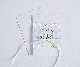 Papiernictvo - Svadobný pozdrav - srdiečko s vtáčikmi na ružovej (Modrá) - 10791245_